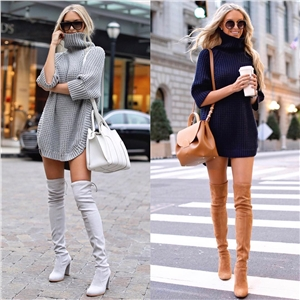 European and American style street fashion solid color turtleneck sweater sweater