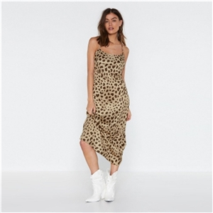 Europe and the United States wild leopard print basic section cross backless straps dress long skirt
