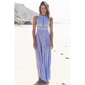 Bohemian printed openwork lace stitching backless dress long skirt beach skirt