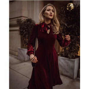 Wine red velvet bow tie bow elegant long sleeve dress
