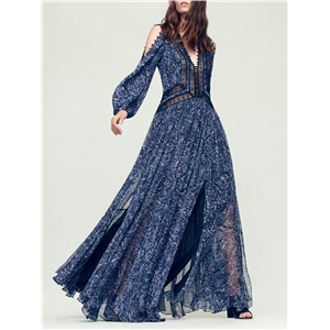 Blue lace stitching loose perspective long sleeve large revealing shoulders retro national wind dress long skirt