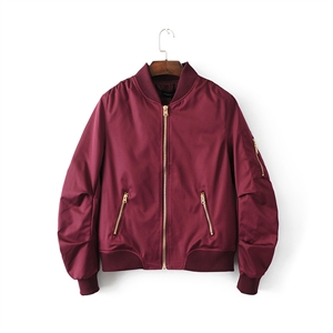 Solid color zipper jacket slim jacket