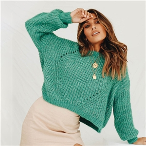 Green round neck gold and silver thread women's sweater sweater