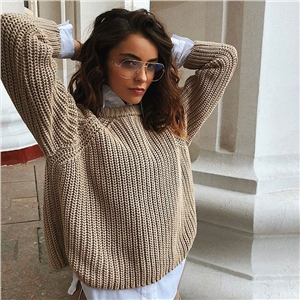 Coffee color autumn and winter round neck women's sweater