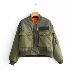 European and American style women's fashion army green flight jacket short coat jacket
