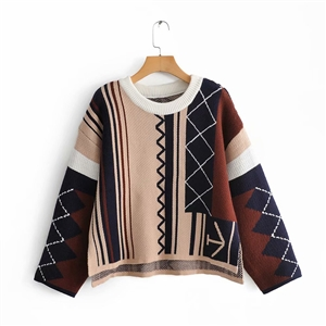 Color matching drop sleeves warm sweater women's sweater