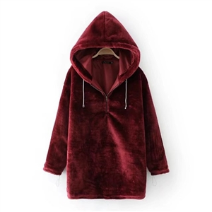 Solid color fashion velvet hooded pullover long sleeve sweater