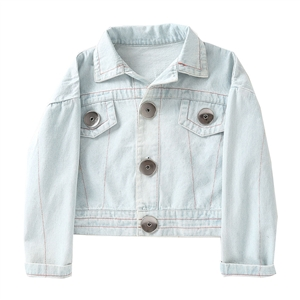Light blue large button decorated women's denim jacket