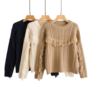 Solid color tassel design sense pullover sweater women's sweater