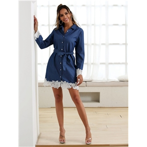 Blue high-rise lace-up long-sleeved lace-ed denim dress