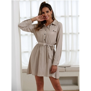 Solid color tooling high waist tie long sleeve dress