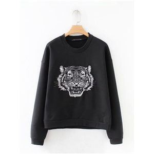 Fashion wild slim slimming round neck tiger embroidery embroidery sweater women's clothing