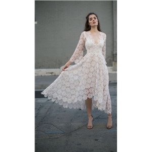 White Lace Sexy V-neck Long Sleeve Dress