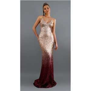 Sexy V-neck sling sequined gradient dress