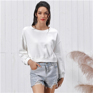 Wild pure color loose head long sleeve short sweater