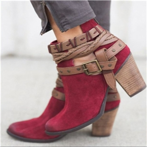 High heel lace round ankle boots large size boots