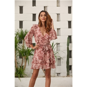 Pink sexy temperament nine-point sleeve V-neck ruffled chiffon print dress