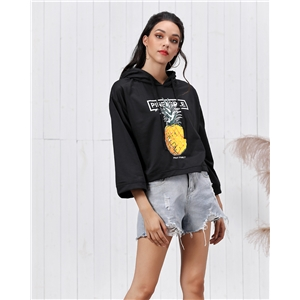 Loose casual hooded pineapple fruit print women's hooded sweater