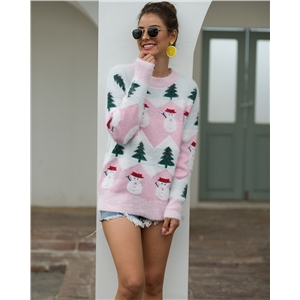 Christmas tree snowman pattern pullover sweater sweater