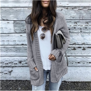 Solid color women's knit cardigan sweater coat