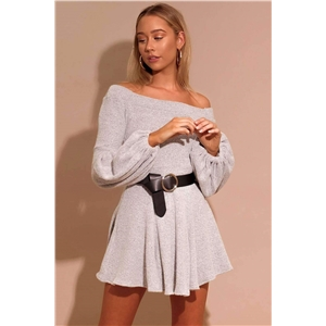 Gray sexy temperament word shoulder lantern sleeves long sleeve solid color knit dress