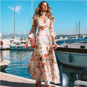 Deep V Print Slim Long Sleeve Dress Maxi Dress