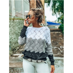 Personality stitching sweater pullover sweater large size bottoming shirt