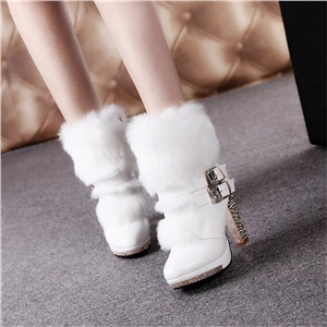 Thick and high heel mid-tube fur one-piece rhinestone women's boots snow boots Martin boots