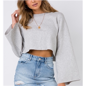 Solid color short long-sleeved umbilical loose hooded sweater sweater
