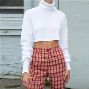 White high collar short sweater solid color navel loose long sleeve short shirt