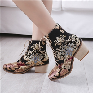 Vintage satin embroidered high heel thick with pointed toe ankle boots