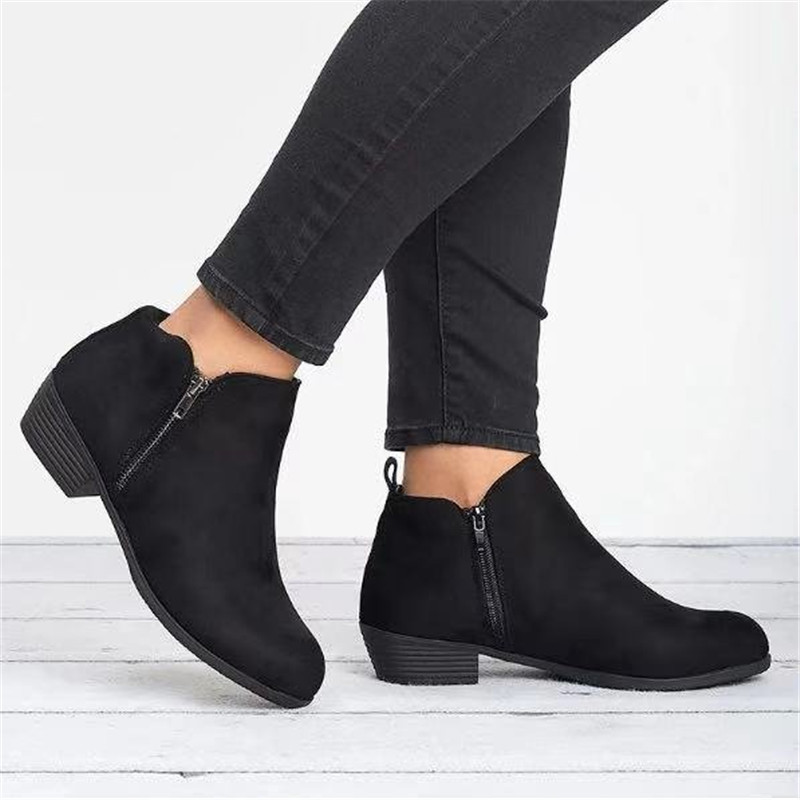 New Womens Ladies Flat Ankle Boots Casual Bow Side Zip Low Heel Comfy Shoes Size
