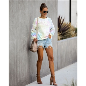 Colorful round neck long sleeve printed sweater