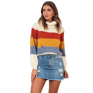 Color stitching high neck long sleeve knit women's sweater