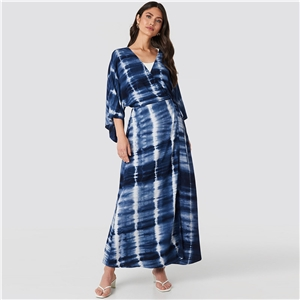 Blue Print Flowing Deep V Wrap Waist Dress