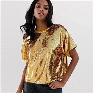 Personality Gold Sequin Stage Dress Loose Round Neck Short Sleeve Split Halter Top T-Shirt
