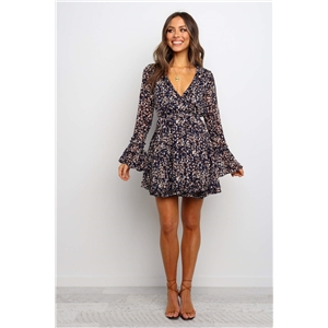 Blue V-neck print long sleeve ruffled dress