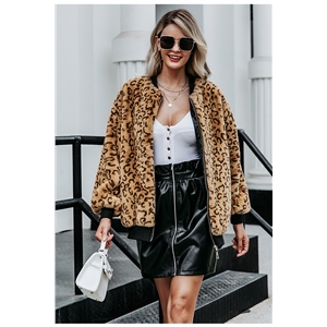 Leopard print artificial wool women's long-sleeved faux fur casual zipper women's jacket