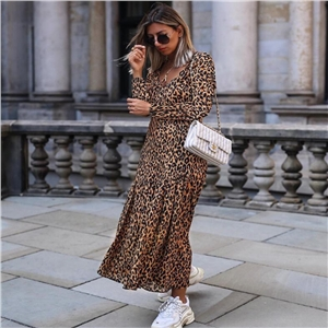 Leopard V-neck ruffled casual dress