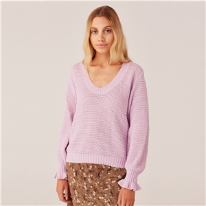 Autumn loose low collar round neck fungus sleeve sweater sweater