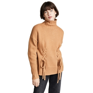 Simple Camel High Collar Warm Loose Shoulder Shoulder Long Sleeve Cross Tie Sweater