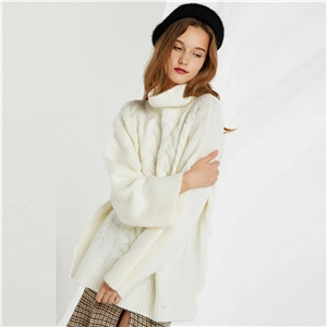 White sweet wind collar collar twist knit loose long sleeve side slit sweater