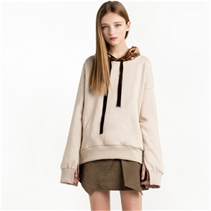Fashion velvet hooded stitching cuffs open sweater