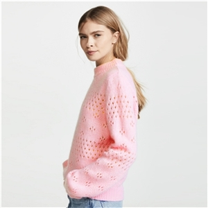 Pink round neck cutout pattern knit long sleeve pullover women's sweater