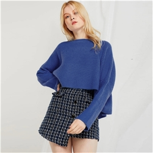 Blue round neck back cross-knit long-sleeved loose short sweater