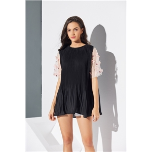 Black crepe gauze flower three-dimensional sleeve dress