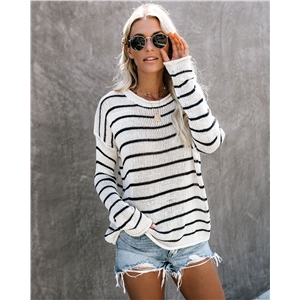 Black and white striped sweater women's bottoming sweater