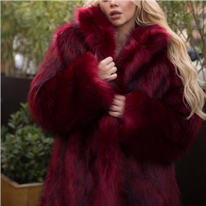 Solid color collar fox fur long paragraph imitation fur coat warm trend one plush coat