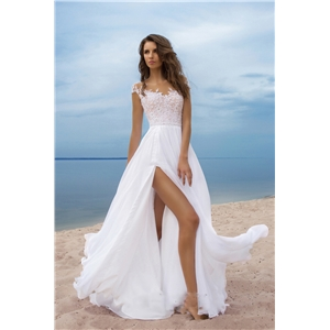White sexy V-neck split fork party dress