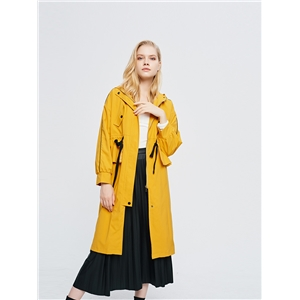 Women's long loose yellow windbreaker coat fashion hooded jacket